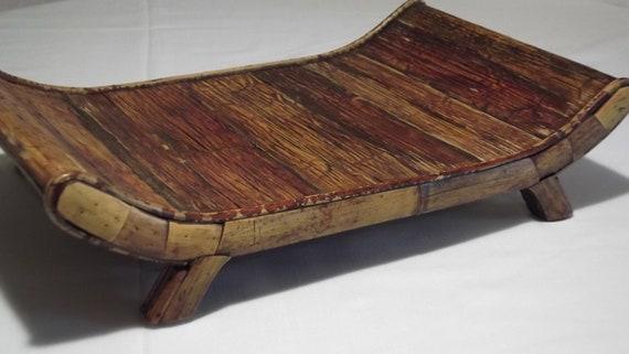 Vintage Fireplace Log Holder Made of Bamboo and Wood - Fireplace Log Holder Made Of Bamboo And Wood