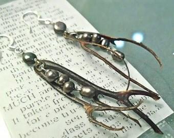 Black is Beautiful- Black Coral aND Black Pearl Earrings