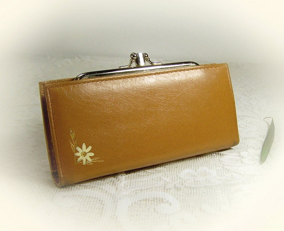 Retro Brown Clutch Wallet, faux leather  beige or tan vinyl , Vintage 1980s