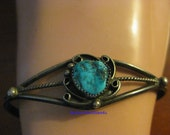 Vintage 925 Sterling Silver Turquoise Stone Cuff Bracelet-Native American
