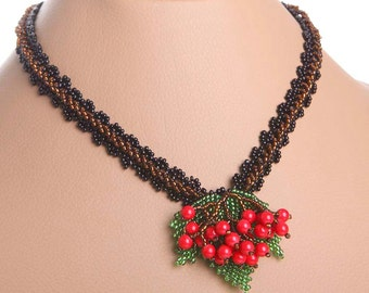 Traditional  Beads Beaded NECKLACE Small Red Guelder Rose 3D