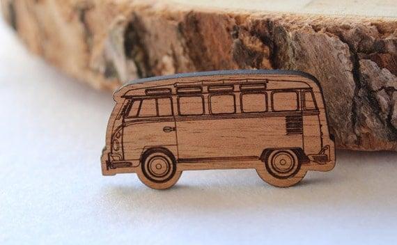 Wood laser cut brooch Cosy vintage Kombi natural wood finish