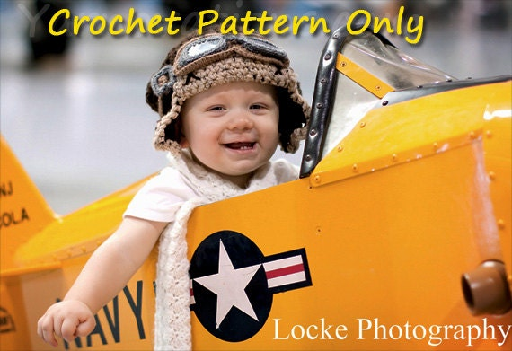 Aviator Costume Crochet Hat Goggles And Scarf By