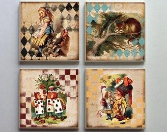 Vintage-Style Alice in Wonderland - Ceramic Tile 4-pc. Refrigerator Memo Magnet Set Magnets - Set No. 5