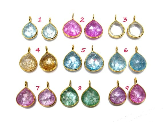24 kt. Gold Plated 925 Sterling Silver Dangle matching Earring pair , faceted Crystal Gemstone ,12 mm heart drop dangles