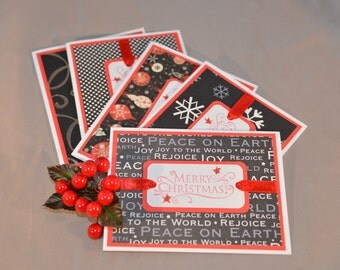 Black and White Hand Stamped Christmas Cards -  Assorted Holiday Cards (Set of 5)