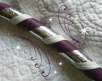 Fractal Grace Dance & Exercise Hula Hoop COLLAPSIBLE or Push Button - purple white rainbow