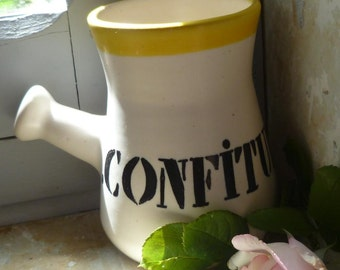 French Faience Warm Confiture Jam Pot Vintage Retro Continental Breakfast Service