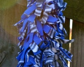 CLEARANCE Blue and Black White Zebra fleece Boa Scarf