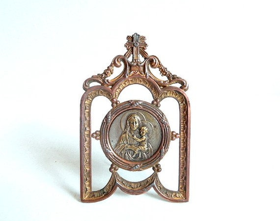 RESERVED .Shrine . Antique French shrine . Personal altar. Chapel . Oratory .Virgin Mary .Virgin Madonna.Religious