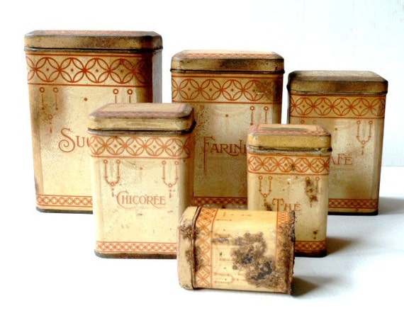 antique distressed french kitchen canisters set 1910s