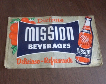 Vintage 1940's Mission Beverages Label Peel and Stick