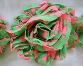 1 Yard Shabby Fray Flowers - Pink / Green Camo Style -  6CM