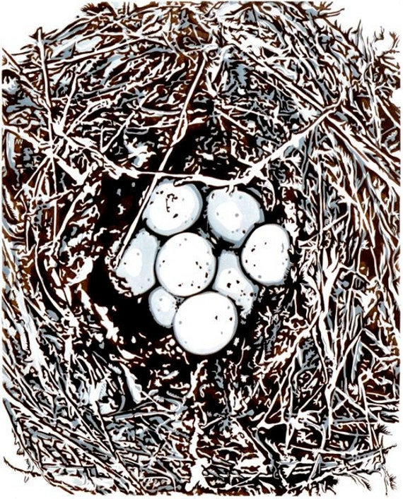 "LAST ONE - Linocut Relief Print, ""Cassin's Nest -Blue"" - chocolate brown & soft blue-gray neutrals, wall art, fine art printmaking"