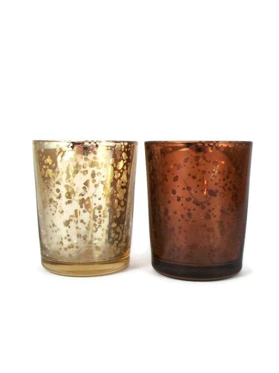 Mercury Glass Votive Candle Holder Set Brown & Silver Pair