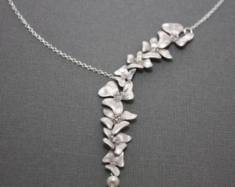 191- Sterling silver Cascading flower garland necklace