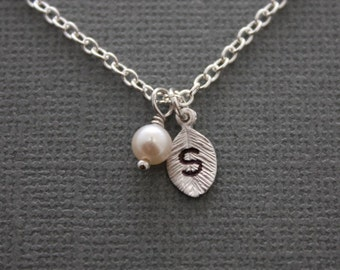 090- Simple stamped initial leaf and freshwater pearl neckace - Sterling Silver leaf necklace