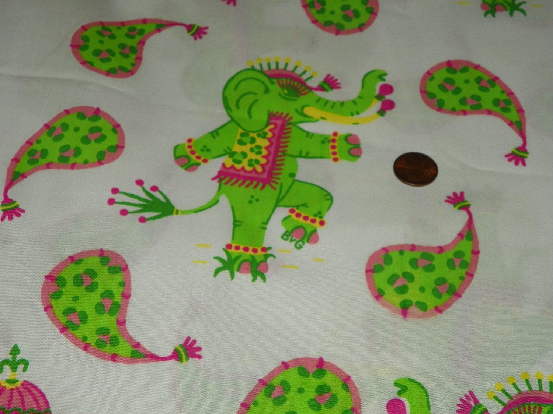 Adorable elephants green and pink fabric nursery baby for Baby nursery fabric yard