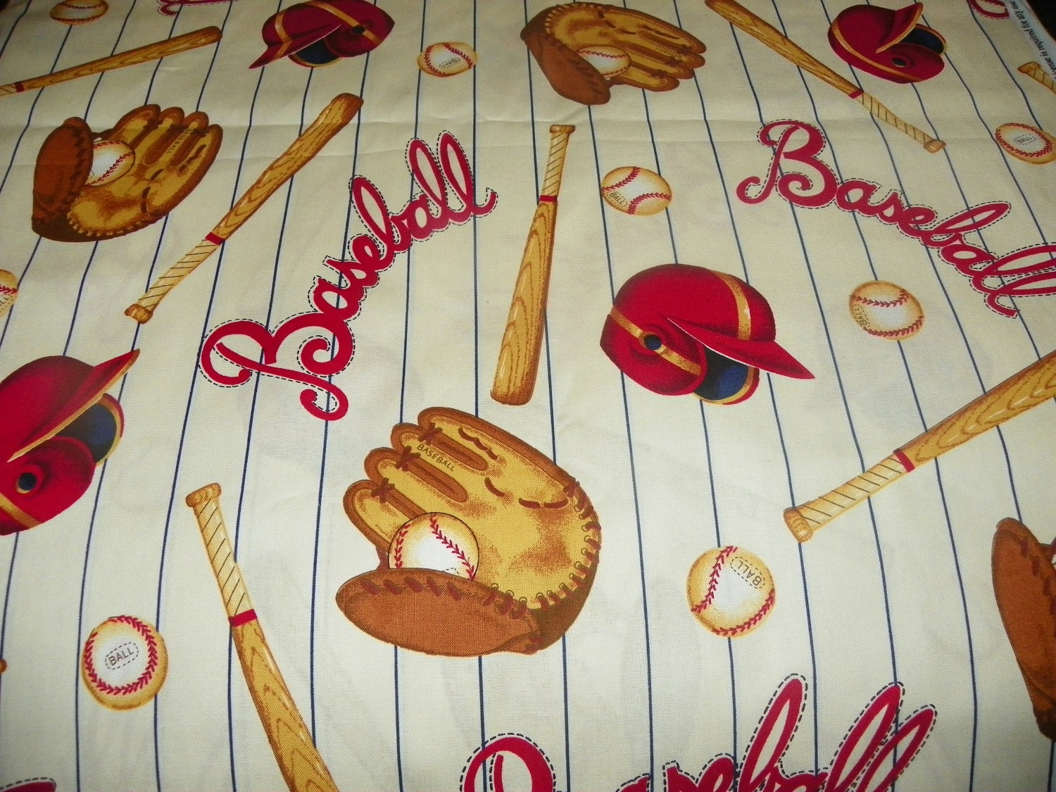 Vintage Look Baseball Fabric For A Little Boy Perfect For