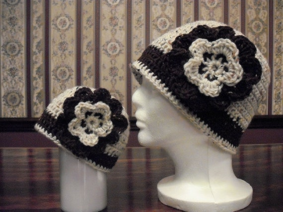 Matching Mom and Baby Hats, Brown and Neutral Flower Hat, Photo Prop, Mama and Me, Baby Shower Gift, Coffee and Cream