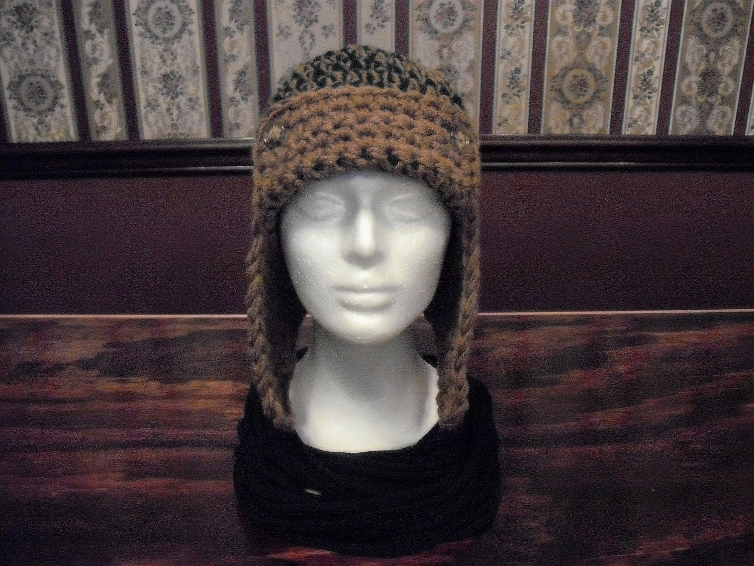 Child Crochet Aviator Hat Pattern : PATTERN Child and Adult Aviator with Earflaps Hat Crocheted