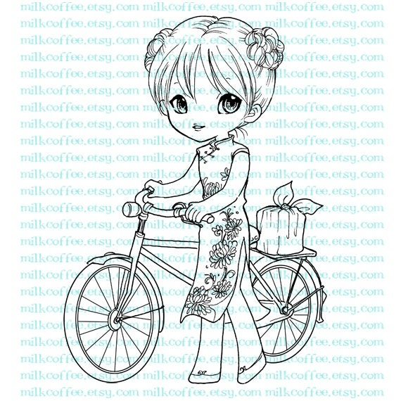Digital Stamp Lady with Antique Bicycle