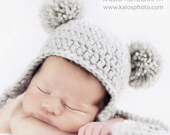 Baby Ear-flap Beanie with 2 Pom-Poms, Newborn Bear Hat
