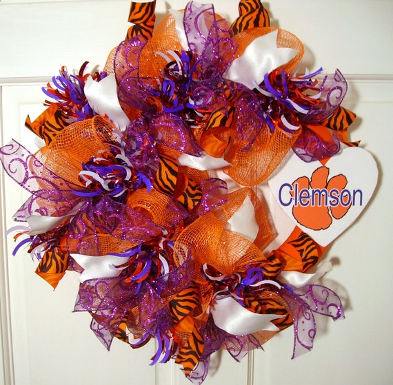 Clemson University orange deco mesh wreath, purple, white, tiger stripe ribbons