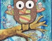 "Cute Owl and Cupcake Art Print 8x8"" from Mixed Media original - Kids Wall Art, Children's Art, Brown and Pink Owl"