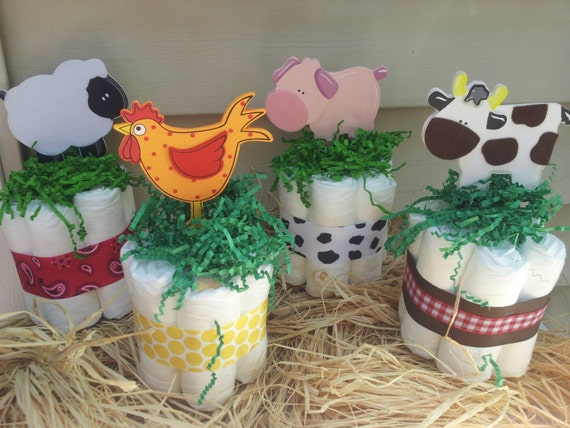 Farm Animal Diaper Cake