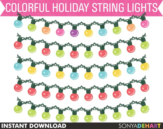 Christmas Clipart, Christmas Clip Art, String Light Clipart, Lights Clipart, Digital Lights, Digital Christmas, Lights Bunting Clipart SALE