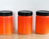 Flame Orange Canister Set - Retro Anchor Hocking Fire King Milk Glass Jars with Fired On Color and Black Lid