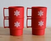 Red Snowflake Tupperware Mugs -  Stackable Holiday Christmas Mugs with Handles