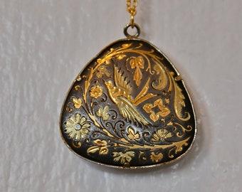 Vintage Damascene Pendant Necklace,  Bird and Floral Motif - Nouveau