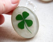 shamrock four leaf clover real pressed leaf botanical pendant. emerald green 4 leaf clover set in resin get lucky luck saint patricks day