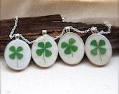 bridesmaid necklace set pressed four leaf clover handmade jewelry pendants bridal wedding woodland