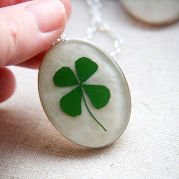 shamrock four leaf clover real pressed leaf botanical pendant. emerald green 4 leaf clover set in resin get lucky luck saint patricks day