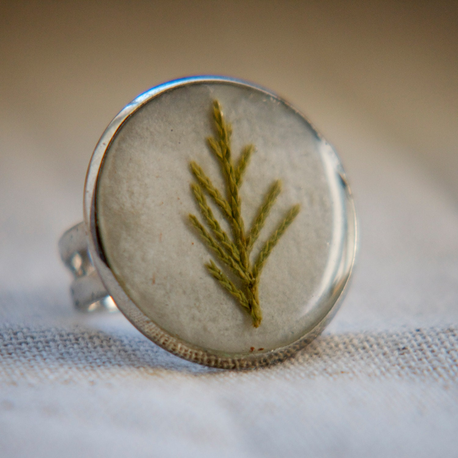 Resin jewelry christmas tree ring real pressed by