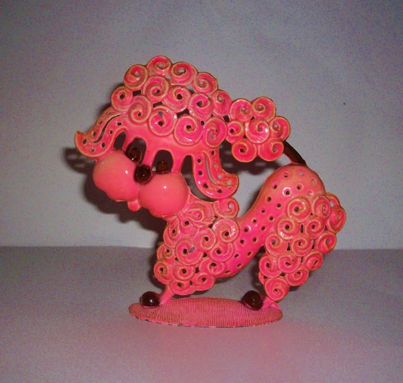 Vintage Earring Holder Pink Poodle Cast Iron 1970's