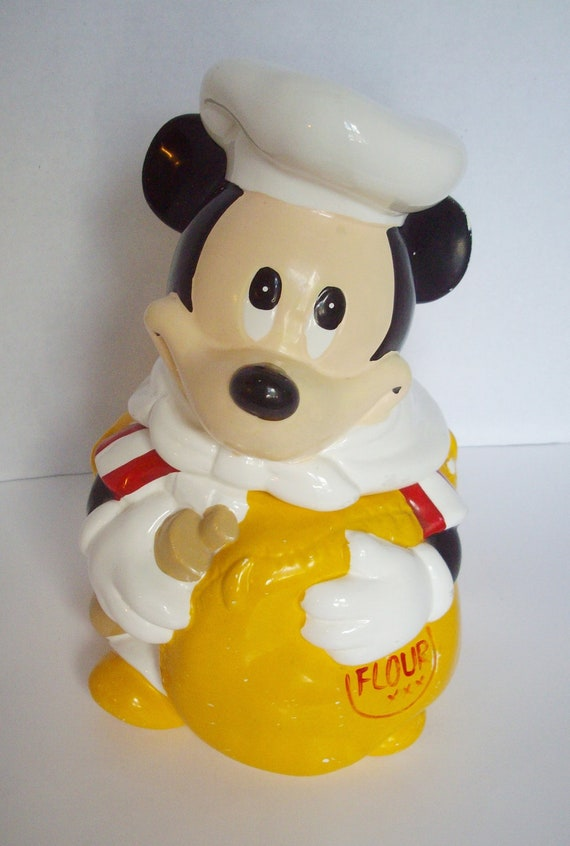 Vintage Mickey Mouse Cookie Jar Hoan Ltd Chef Mickey Flour