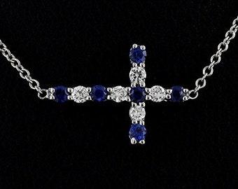 Diamond Sapphire Sideways Cross Pendant, Gemstone Cross Necklace, Off Side Dainty Cross, Christianity Symbol Necklace, Minimalist Side Cross