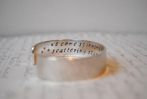 Keepsake Sterling Silver Custom Hand Stamped Cuff Bracelet. Rumi Secret Message