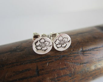 Hibiscus Sterling Silver Stud Earrings - Jewelry