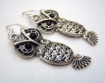 Owl Earrings Owl Jewelry Silver Owl Earrings