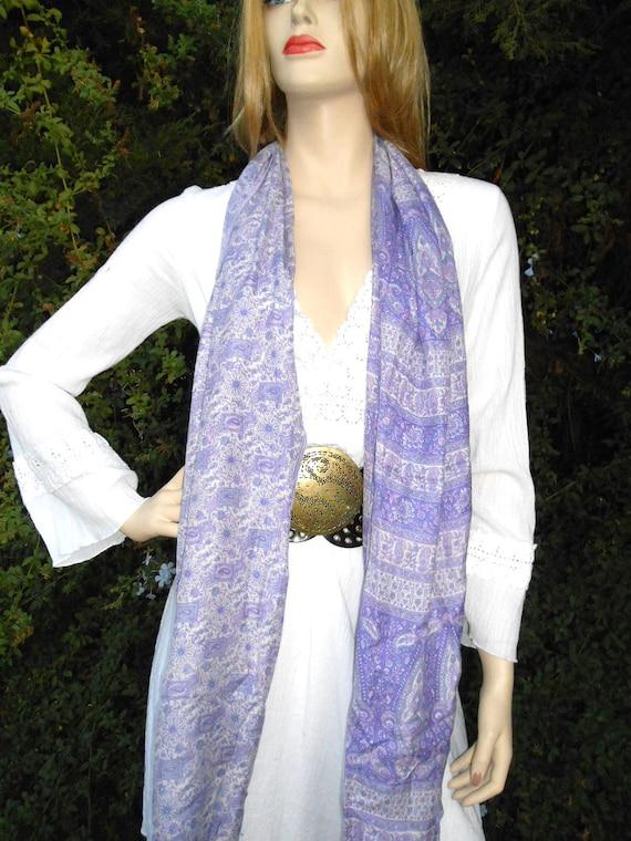 LONG Neck Scarf ----Recycled Vintage SARI  Silk--Floral- Lavender Paisley  floral Design