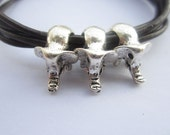 Multilayer leather bracelet---antique silver personality three 3D little cute elephants bracelet & brown leather chain
