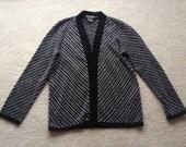 Vintage 1980s metallic black and silver lurex stripe wrap cardigan XS S M L