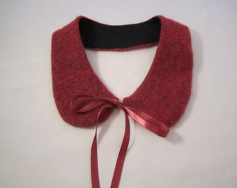 Cranberry colored mohair/wool blend Peter Pan collar with satin ties cranberry collar