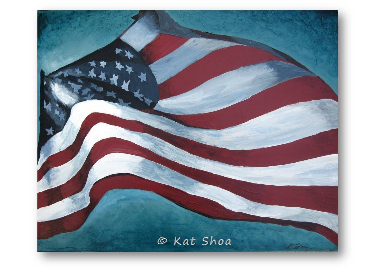 Original painting american flag wall art patriotic by for Painted american flag wall art