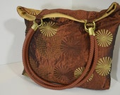 Tote Bag, Shoulder Tote Bag, Shoulder Handbag, Slouch Bag, with Brown and Gold Embroidery, Leather Woven Straps